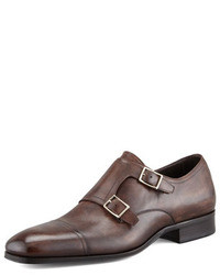 Dark Brown Leather Double Monks