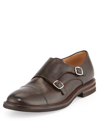 Brunello Cucinelli Leather Monk Strap Loafer Brown