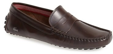 81bde59fdfefd ... Brown Leather Driving Shoes Lacoste Concours Driving Shoe ...