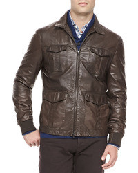 Dark Brown Leather Field Jacket