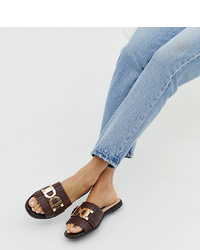 River Island Sliders With In Chocolate