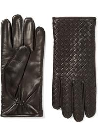 Cashmere lined intrecciato leather gloves medium 714586