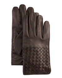 Bottega Veneta Woven Leather Gloves Dark Brown