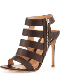 Dark Brown Leather Heeled Sandals