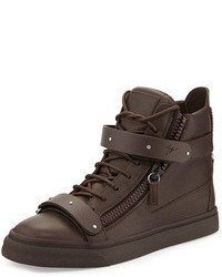 Dark Brown Leather High Top Sneakers
