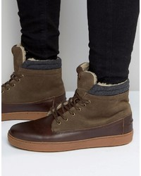 Aldo Divi Leather High Top Sneakers In Brown Leather