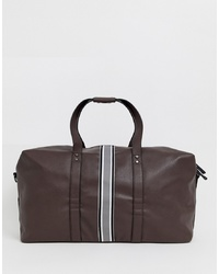 New Look Holdall With Stripe Detail In Brown