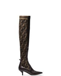 Fendi Brown 45 Logo Stretch Knee High Boots