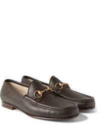 Gucci Horsebit Grained Leather Loafers