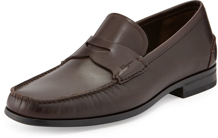 f15620be2425d ... Dress Shoes › Loafers › Bergdorf Goodman › Salvatore Ferragamo › Dark  Brown Leather Loafers Salvatore Ferragamo Print Rubber Sole Penny Loafer  Brown ...