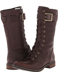 Dark Brown Leather Mid-Calf Boots