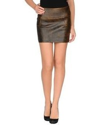 Dark Brown Leather Mini Skirt