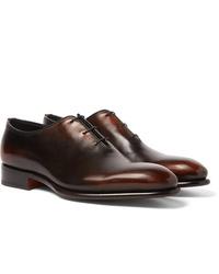 Santoni Burnished Leather Oxford Shoes