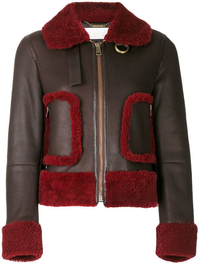 Chloé Shearling Trim Leather Jacket