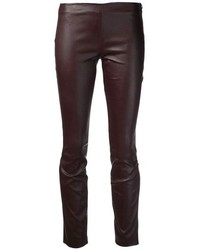 Dark Brown Leather Skinny Pants