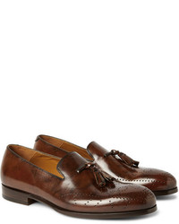 Alexander McQueen Brogue Detailed Tasselled Leather Loafers