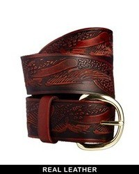 Leather tooled waist belt dark brown medium 90138