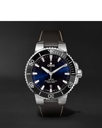 Oris Aquis 43mm Stainless Steel And Leather Watch Ref No 01 733 7730 4135 07 5 24 10 Eb