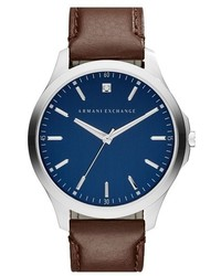 Ax Armani Exchange Leather Strap Watch 46mm