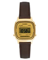 Casio Brown Leather Strap Digital Watch