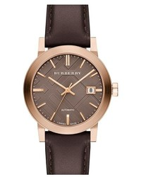Burberry Check Stamped Automatic Leather Strap Watch 38mm