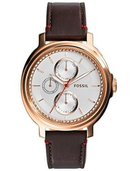 Fossil Chelsey Crystal Bezel Multifunction Leather Strap Watch 39mm