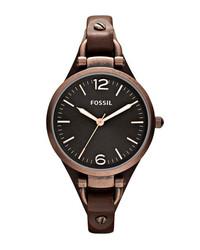 Fossil Georgia Leather Strap Watch 32mm Dark Brown