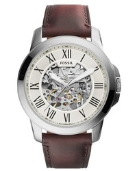 Fossil Grant Automatic Leather Strap Watch 45mm