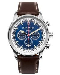 Jack mason nautical chronograph leather strap watch 42mm medium 748850
