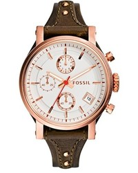Fossil Original Boyfriend Chronograph Leather Strap Watch 38mm Brown Rose Gold