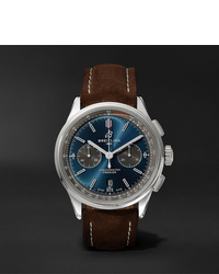 Breitling Premier B01 Chronograph 42mm Stainless Steel And Nubuck Watch Ref No Ab0118a61c1x1