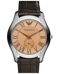 Emporio Armani Round Leather Strap Watch 43mm
