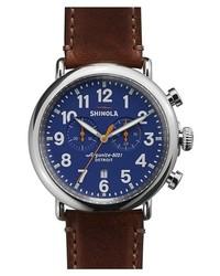 Shinola The Runwell Chrono Leather Strap Watch 47mm Dark Brown Blue