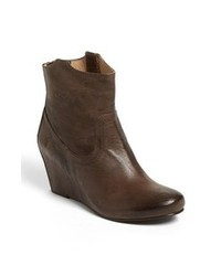 Dark Brown Leather Wedge Ankle Boots