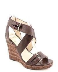 Dark Brown Leather Wedge Sandals
