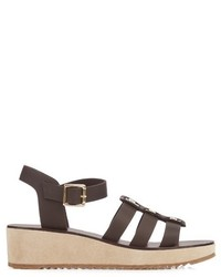 Vivienne leather and suede wedge sandals medium 764415