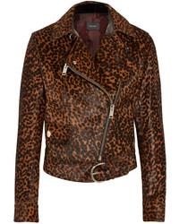 Isabel Marant Eston Leopard Print Calf Hair Biker Jacket Leopard Print