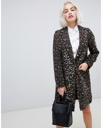 New Look Brushed Leopard Print Tailored Coat Pattern