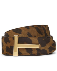 Tom Ford 4cm Reversible Leopard Print Nubuck Belt