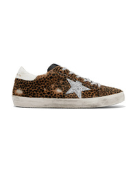 Golden Goose Deluxe Brand Superstar Glittered Leather And Distressed Leopard Print Calf Hair Sneakers