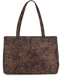 Dark Brown Leopard Leather Tote Bag