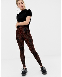 ASOS DESIGN Legging With Deep Waistband In Blurred Leopard Print