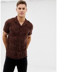 Dark Brown Leopard Short Sleeve Shirt