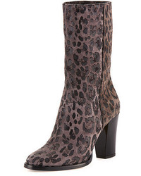 Music leopard print suede ankle boot gray medium 53487