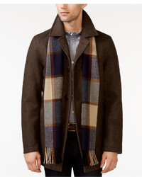 Tommy Hilfiger Big Tall Melton Peacoat With Scarf