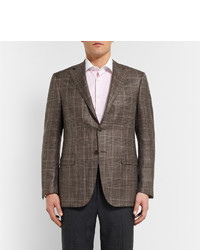 Canali Brown Checked Wool And Silk Blend Blazer