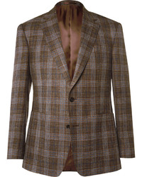Gieves Hawkes Brown Slim Fit Check Wool Silk And Linen Blend Blazer