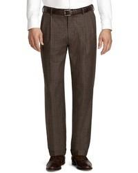 Dark Brown Plaid Dress Pants