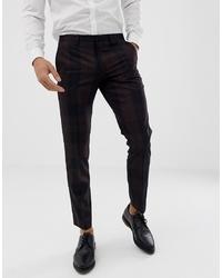 Burton Menswear Tuxedo Suit Trousers In Red Tartan