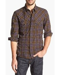 Dark Brown Plaid Long Sleeve Shirt